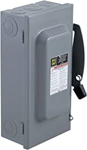 Square D by Schneider Electric DU323 100-Amp 240-Volt 3-Pole Non-Fusible Indoor General Duty Safety Switch, Steel,Small