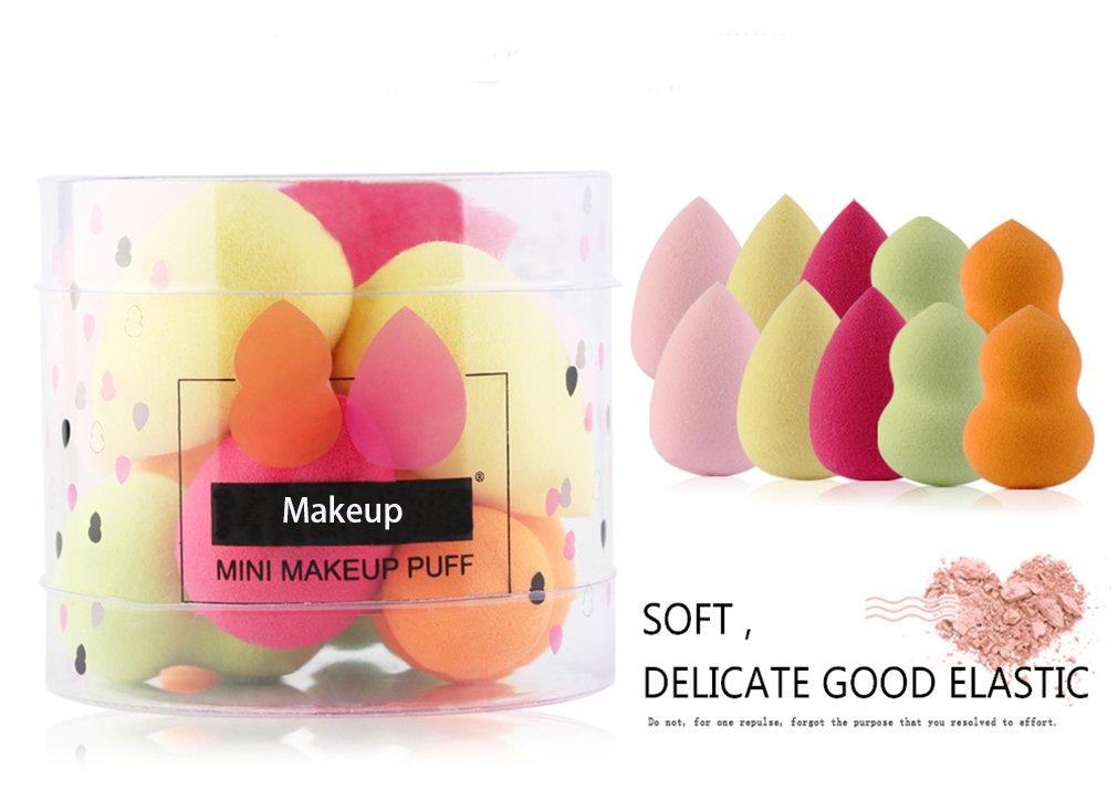 Gracelaza set de 10 esponjas para aplicar maquillaje - Ideal maquillaje fundación puff para corrector, polvo, crema y colorete - Hipoalergénicas e inodoras