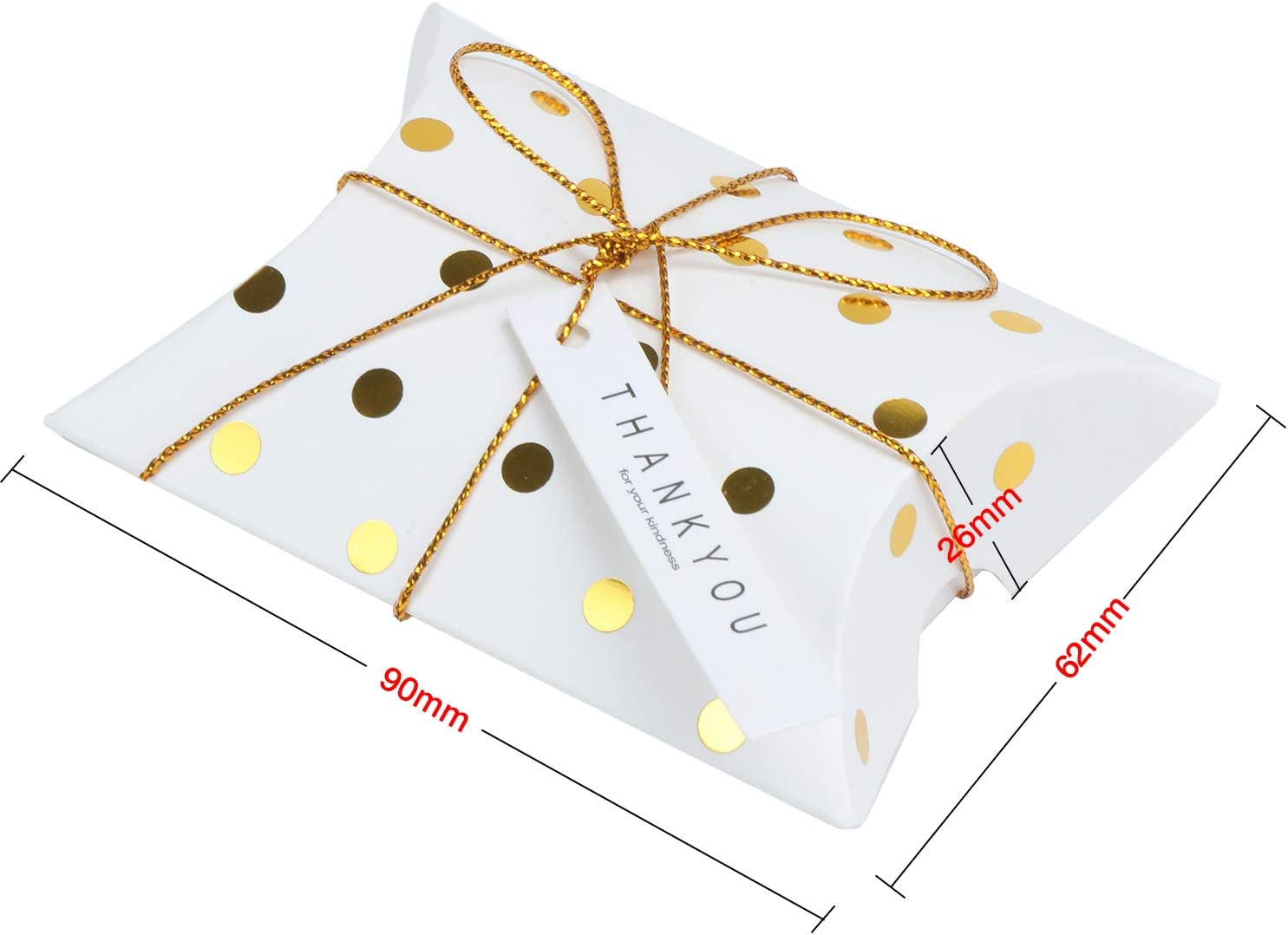 Creative Paper Treat Boxes TsunNee Pillow Paper Candy Boxes with Thank You Card 50-Pack Polka Dot Christmas Xmas Party Gift Boxes Sweet Wedding Favour Boxes