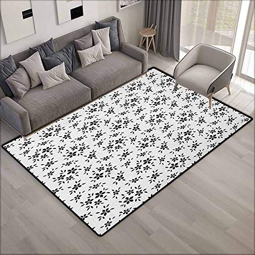 Collection Area Rug,Floral Simplistic Monochrome Spring Leaves Abstract Florets Stem Plants Essence Theme,Ideal Gift for Children,5'6