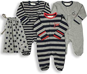 34585ed15dfa1 The Essential One Baby Boys  Pack of 3 Footie Sleeper Coveralls