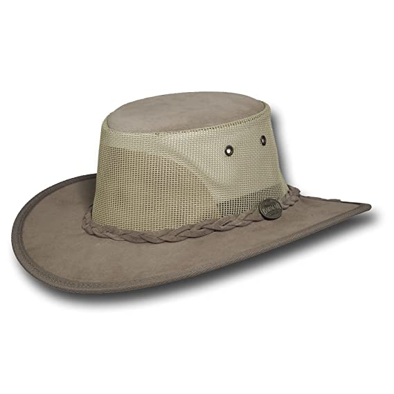 40b9c61ad33 Barmah Hats Foldaway Cooler Leather Hat 1068BL 1068RB 1068LM 1068CH - Sand  - Xlarge  Amazon.in  Clothing   Accessories