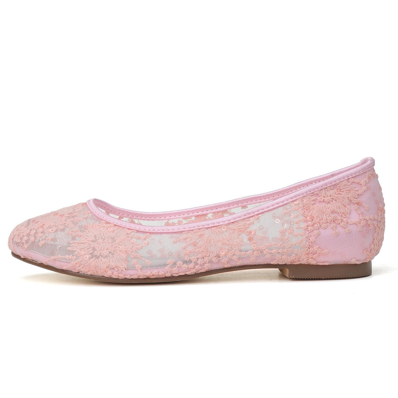 Elobaby Damen-Hochzeits-Schuhe 9872-20 Runde Zehe Yellow Geschlossene Zehe auf Abschlussball-Spitze-Satin-Größen-Partei Yellow Zehe 07414d