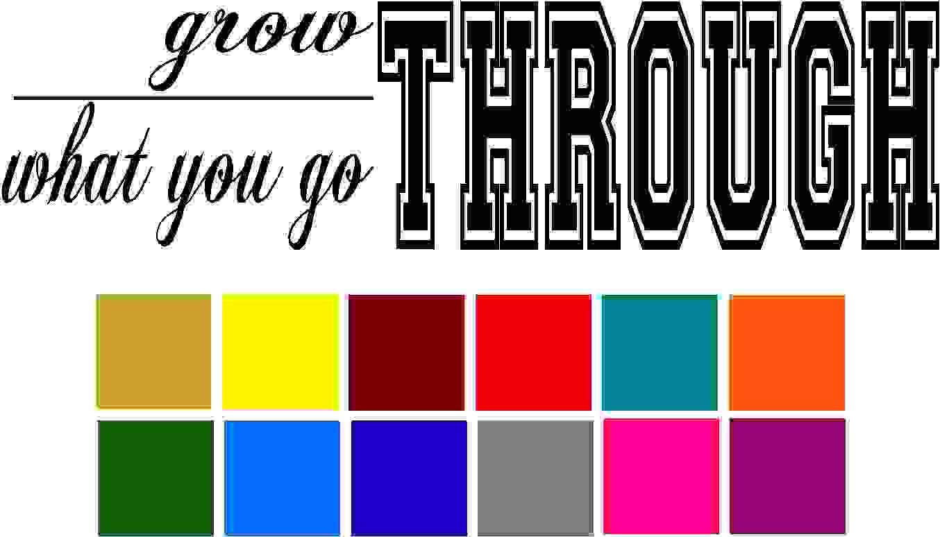 Grow Through what you go Through Quote Car Window Tumblers Wall Decal Sticker Vinyl Laptops Cellphones Phones Tablets Ipads Helmets Motorcycles Computer Towers V and T Gifts