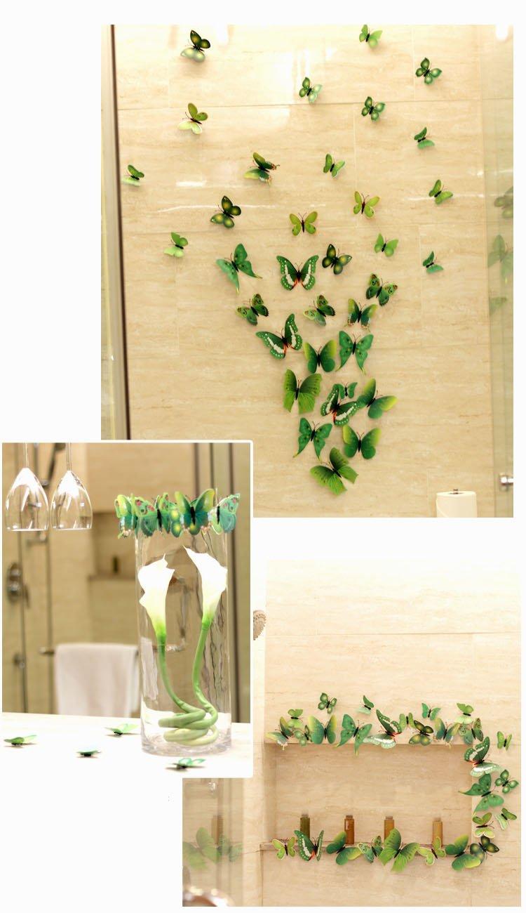 Amazon.com: Green 24PCS 3D Butterfly Wall Stickers Decor Art ...
