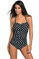 Tiksawon Womens Sexy Vintage One Piece Monokini Swimsuit Swimwear