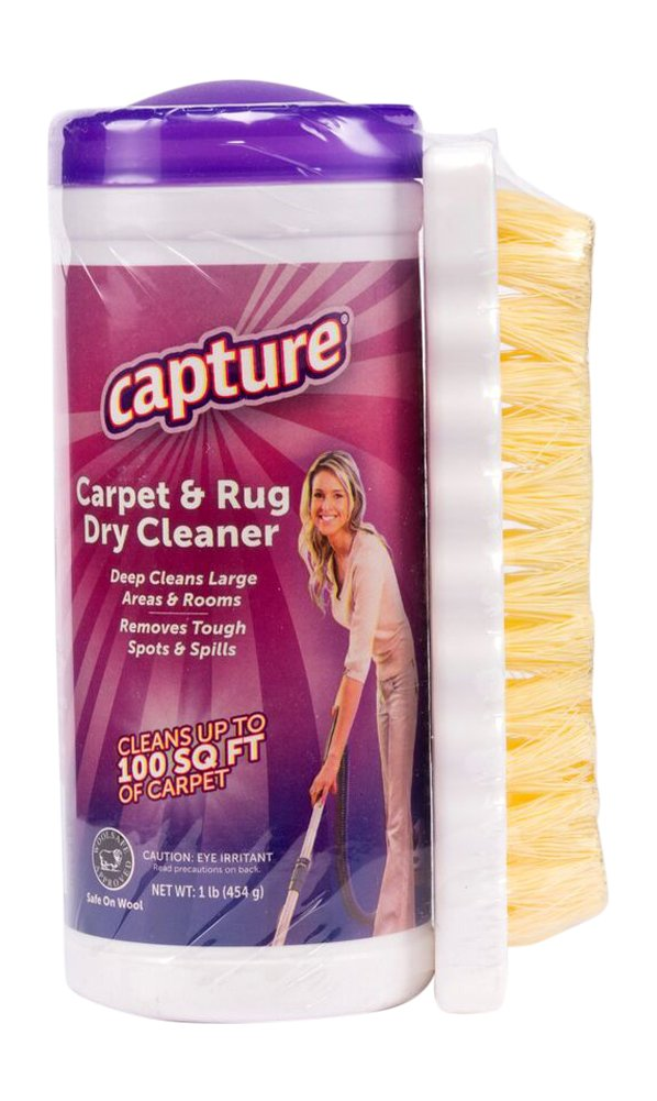 Capture Carpet Dry Cleaner Powder and Brush - Resolve Allergens Stain Smell Moisture from Rug Furniture Clothes and Fabric, Mold Pet Stains Odor Smoke and Allergies too