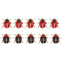 Dolity 10 Pieces Enamel Ladybird Ladybug Insect Small Brooch Pin for Suit Hats Scarf