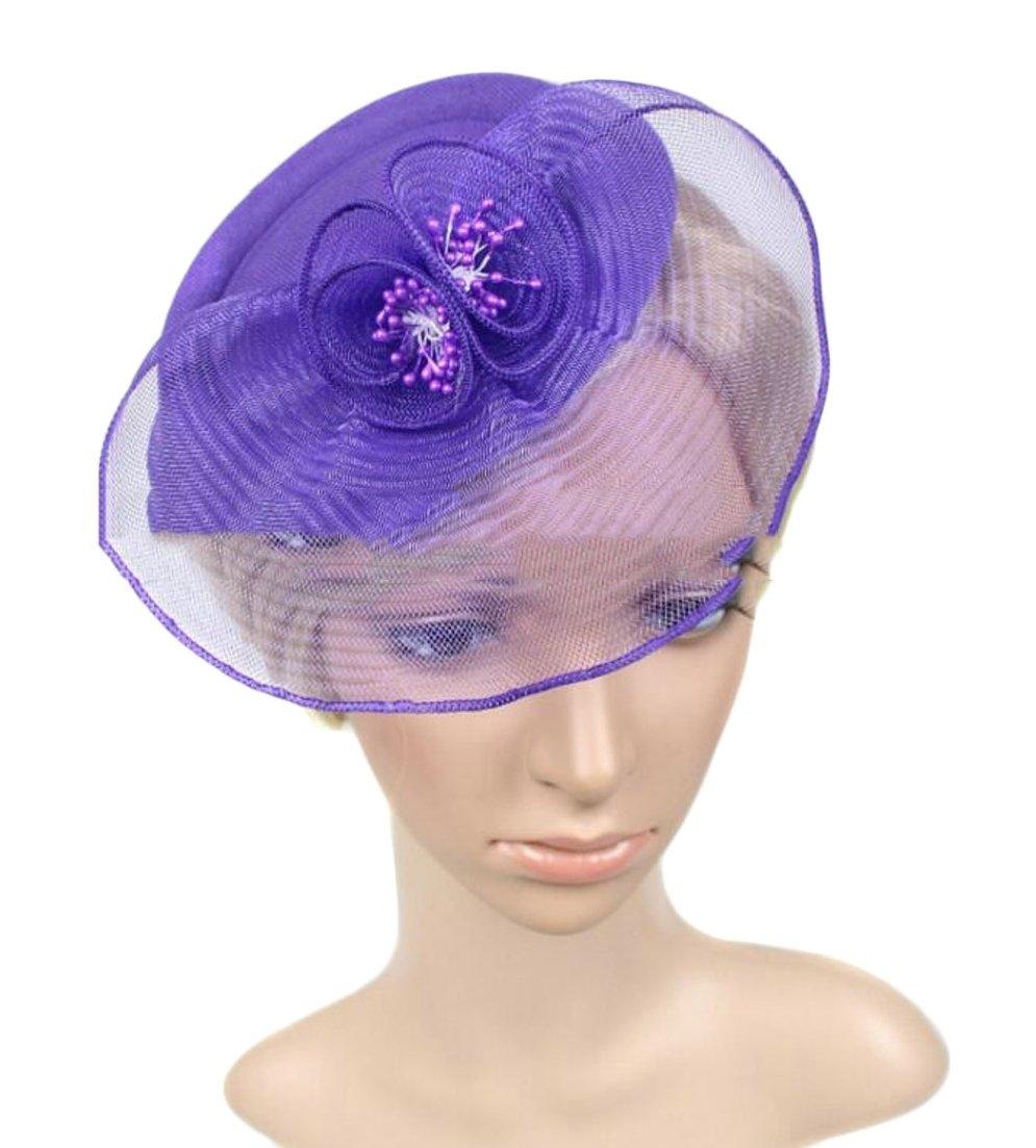 ainr Women's Fascinators Hair Clip Headband Pillbox Hat Bowler Mesh Veil Wedding Party Hat Purple OS