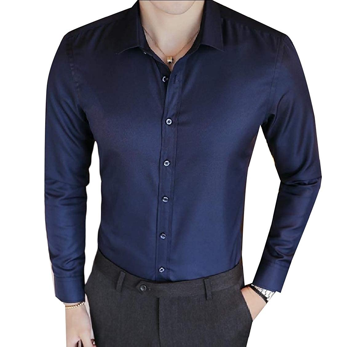 Vska Mens Formal Basic Classic Non-Iron Solid Long Sleeve Dress Shirts