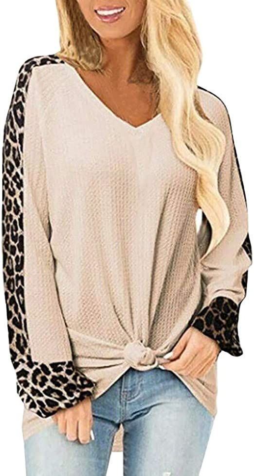 KANGMOON Womens Leopard Patchwork Print Long Sleeve Pullover Tops Shirts Blouse Loose Fit Sweatshirts