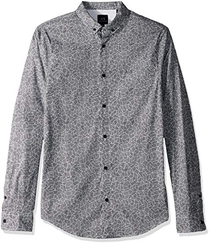 (A|X Armani Exchange Men's Patterned Long-Sleeve Cotton Button Down, Navy Small Poly.CAMO, L )