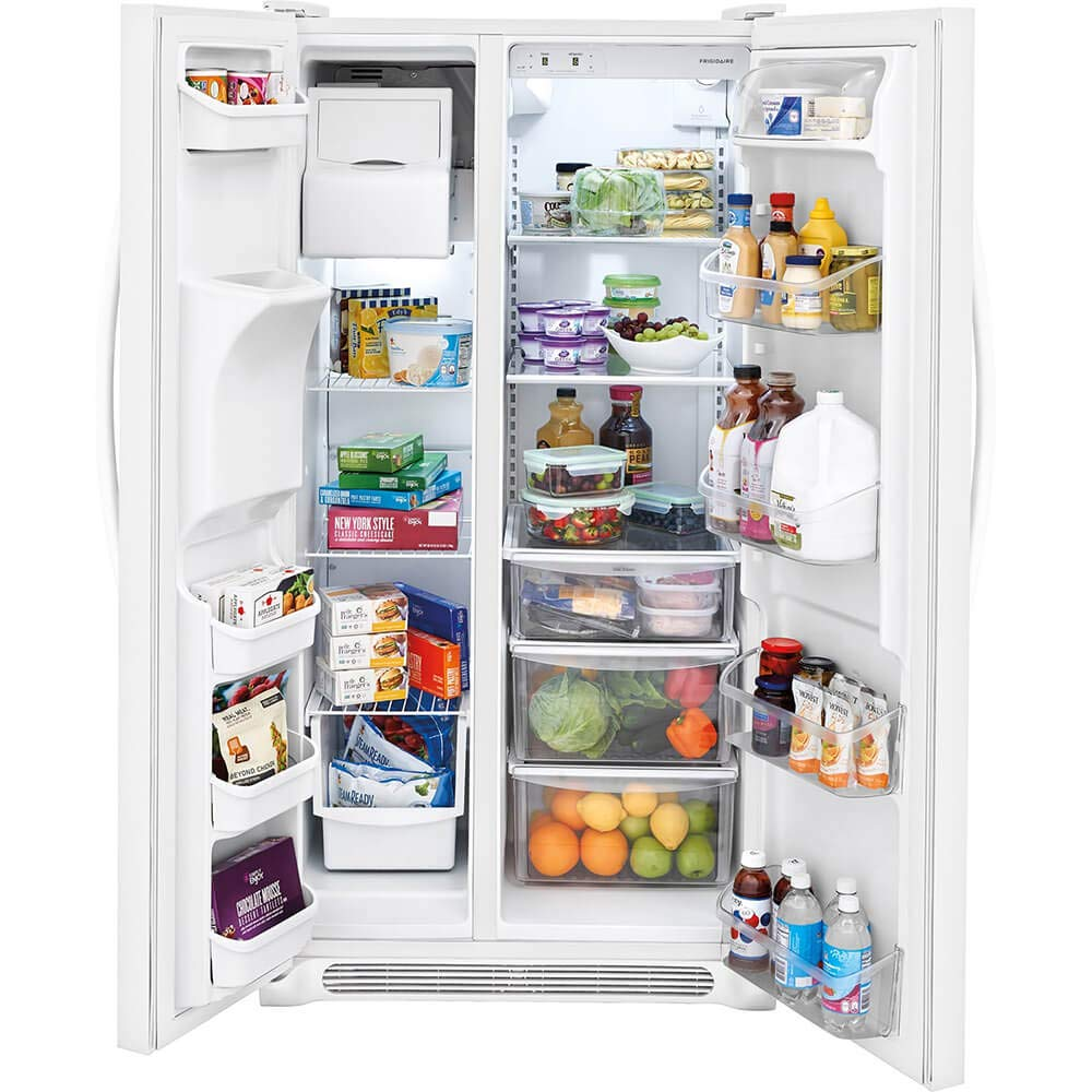 ft in Pearl Capacity Frigidaire FFSS2315TP 33 Inch Freestanding Side by Side Refrigerator with 22.1 cu