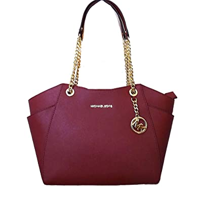 10a1711ba27f Amazon.com  Michael Kors Jet Set Chain Mulberry Saffiano Leather Large  Shoulder Tote Bag  Shoes