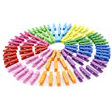 Zicome 100pcs Mini Colorful Natural Wooden Photo Paper Peg Pin Clothespin Craft Clips with Jute Twines