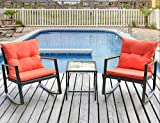 Leisure Zone Outdoor Patio 3 PCS Wicker Rocking Bistr Porch Deck Rockers Coffee Table, Orange Cushion Review