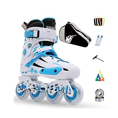 Sljj Inline Skates, Adult Single Row Skates Professional Men and Women Roller Skates Child Full Set (3 Colors) (Color : Blue, Size : 36 EU/4.5 US/3.5 UK/23cm JP): Home & Kitchen