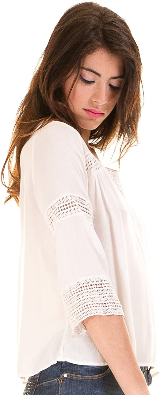 Vila Blusa ibicenca Crochet Vicarrie Blanca Clothes (M - Blanco): Amazon.es: Ropa y accesorios