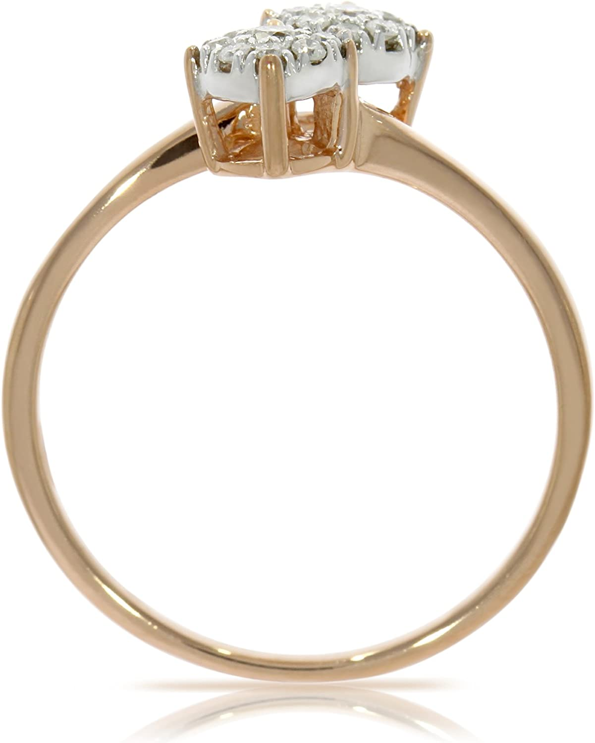 Prism Jewel Round Natural Diamond Two Tone Bypass Cluster Ring