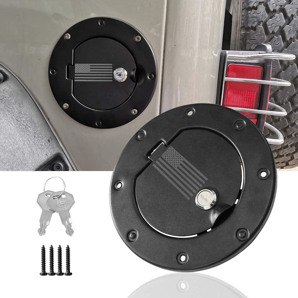 Sukemichi Locking Gas Cap Cover Fuel Tank Door Cover for Jeep Wrangler TJ 1996-2006 Black USA Flag