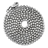 LoveBling 10K White Gold 2mm Italian Moon Cut Bead & Bar Chain Necklace with Lobster Lock (26'')