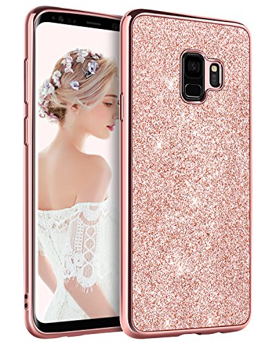 BENTOBEN Phone Case for Samsung Galaxy S9 Slim Heavy Duty Protective Shockproof Phone Cases Luxury Glitter Sparkle Bling Pretty Cases Shiny Girly Phone Cover with Lanyard for Girls Women - Rose Gold