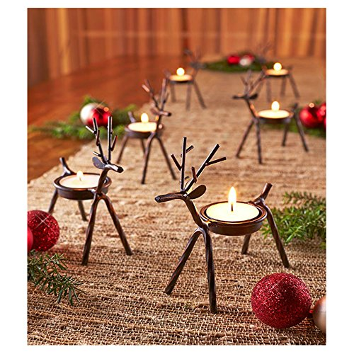 Reindeer Tealight Candle Holders Metal - Set of 6 - Best for Christmas Holiday Christmas Decor