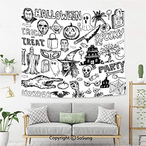 SoSung Vintage Halloween Wall Tapestry,Hand Drawn Halloween Doodle Trick or Treat Knife Party Severed Hand Decorative,Bedroom Living Room Dorm Wall Hanging,60X40 Inches,Black White -