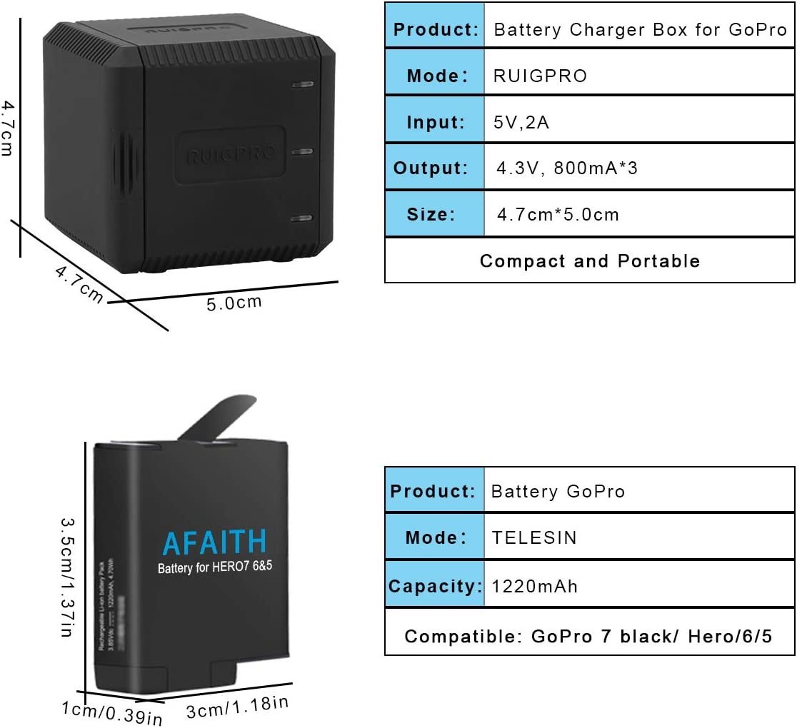 Hero 5 Hero 6 3 Channels Multi-function Type-C Charging Box Battery Storage Charger Organizer for GoPro Hero 2018 Hero 7,Hero 8 Black AFAITH Triple Charger Charging Dock Storage Case for Gopro