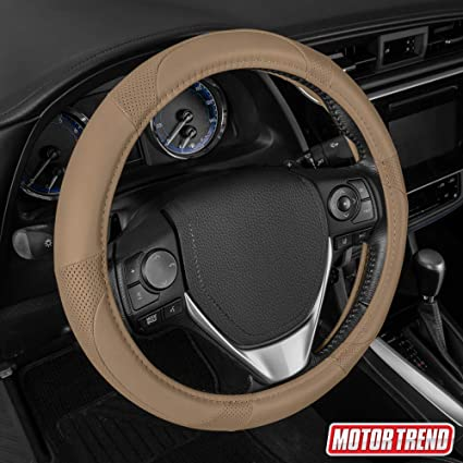 All Beige Motor Trend SW-809-BG Beige Classic Stitch Perforated Simulated Leather Steering Wheel Cover
