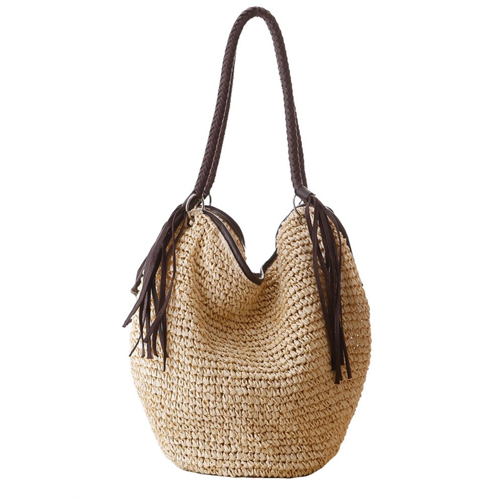 Women Straw Shoulder Bag Summer Beach Bag Tassels Tote Bag Cotton Lining Top Handle Hobo Shopper Handbag Bucket Bag
