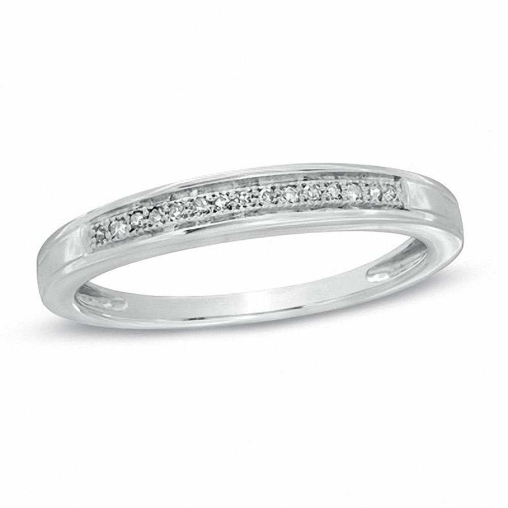 Silvernshine Jewels 0.1 Cts Simulated Ladie's Diamond Accent Wedding Band Ring 14K White Gold Over