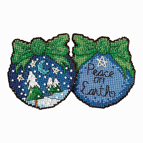 Peace on Earth Ornament Beaded Counted Cross Stitch Kit Mill Hill 2017 Sticks ST181714