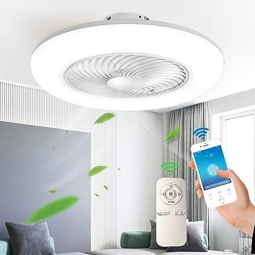 Deckenventilator Mit Beleuchtung Fernbedienung Moderne LED Invisible Ventilator Deckenleuchte Einstellbare Windgeschwindigkeit Dimmbar 46W Timing Leise Schlafzimmer Wohnzimmer Fan Licht,Schwarz