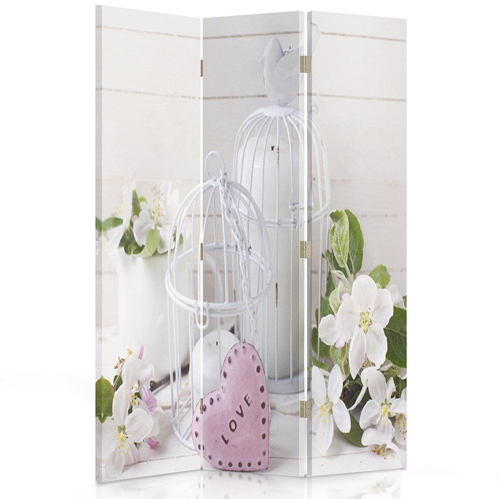 Feeby Frames Canvas Screen, Decorative RoomDivider, Paravent, Double sided, 3 panels (110x180 cm) CAGE,FLOWERS, NATURE, HEART,LOVE