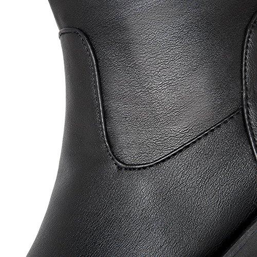 AllhqFashion Mujeres Tacón Alto Sólido Puntera Redonda Material Suave Sin cordones Botas Negro