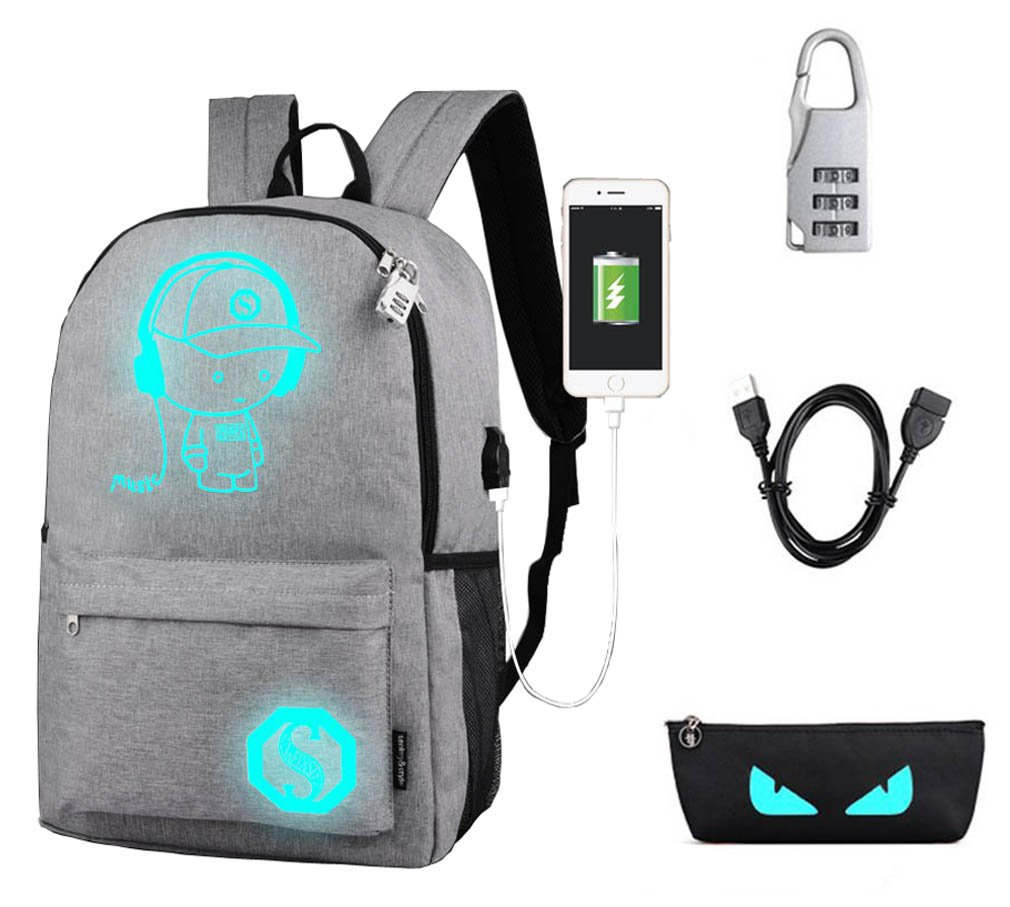 80%OFF Unisex Anime Cartoon Luminous Backpack Laptop Bag Rucksack Bookbag with USB Charging Port (light grey)
