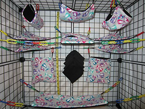 15 Piece Sugar Glider Cage Set 'Flower Tail Foxes' Pattern (Sugar Glider Bedding)