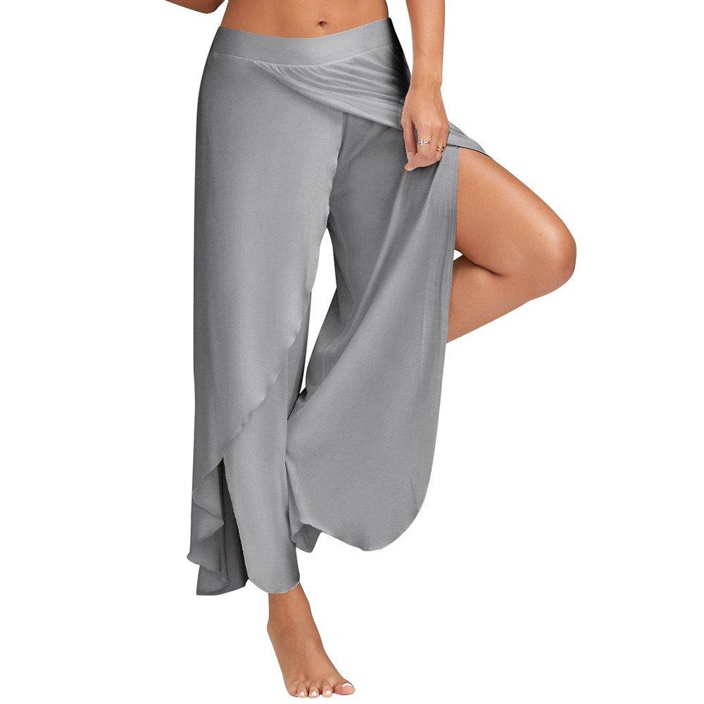 Yoga Hosen Lose Damen, Sunday Frühling Sommer Frauen Beiläufige Lose Hosen Breites Bein Culottes Stretch Hosen Solide Übergröße Kleidung Übung Hosen (M, Schwarz)