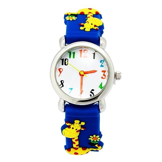 El Reloj de Niños de Vinmori, Reloj de Cuarzo con Dibujos Animados Bonitos de 3D a Prueba de Agua Regalo para Chicos Niños y Niñas Jirafa Azul: Amazon.es: ...