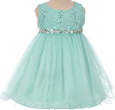 0f2a7ace8d9 BNY Corner Baby Flower Girl Dress Lace Bodice Crystal Tulle Bottom Mint S  MBK 340B