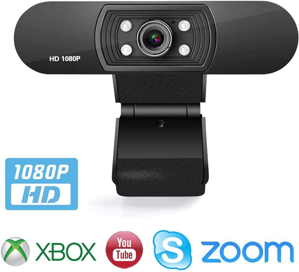 1080P Webcam with Microphone, Web Camera Full HD 1080P, for PC Laptop Desktop Video Calling, Conferencing, Compatible with Windows 10, 8, 7, XP and Mac OS X