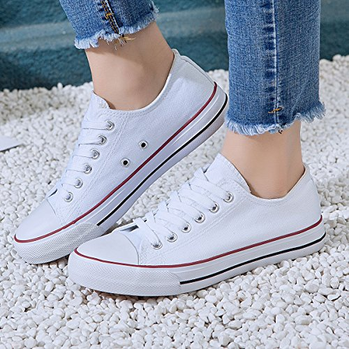 Top AOMAIS Canvas White1 Fashion Shoes Lace Walking Low Womens Sneakers Up XrFXwq
