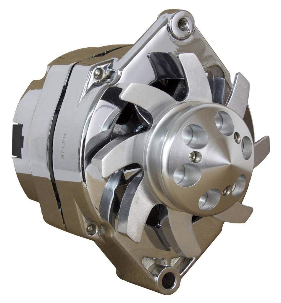 LActrical Chrome High Output 200 Amp Alternator for Chevy Holden BBC SBC Hotrod Performance 1 One Wire Custom Billet Aluminum Pulley Fan 200A
