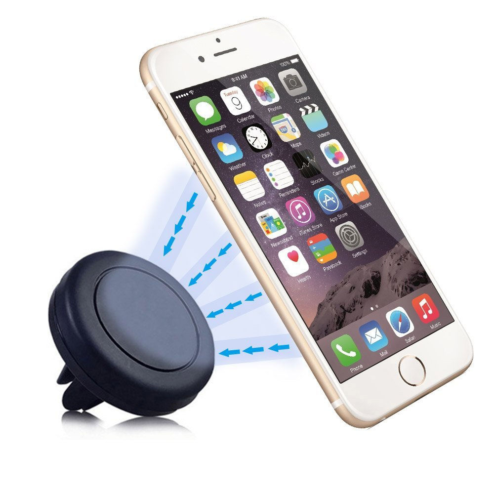 Car Mount, INCART 360°Universal Magnetic Air Vent Aircon Auto Cell Phone Car Mount Holder Cradle for Apple iPhone 6/6s/6s plus/ 5s/4s, Samsung Galaxy S6/S6 edge/S5/S4, IOS, Android Smartphone (Black)