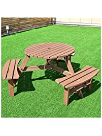 Exceptional MD Group Picnic Table Bench Set 6 Person Patio Fir Wood Sturdy U0026 Durable  Outdoor