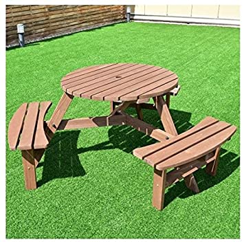 MD Group Picnic Table Bench Set 6 Person Patio Fir Wood Sturdy U0026 Durable  Outdoor