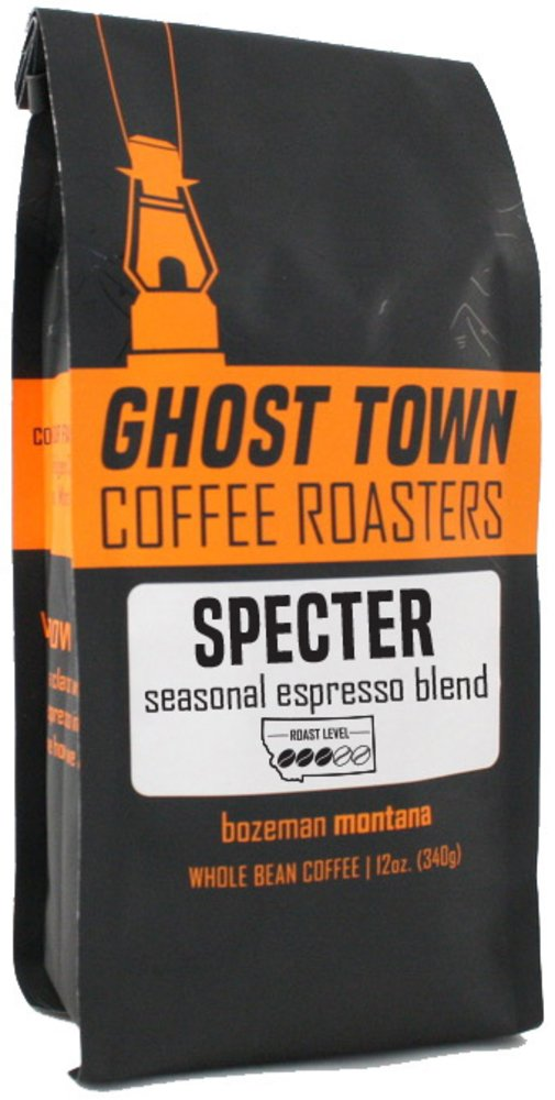 """Ghost Town Coffee Roasters """"Specter Espresso"""" Medium Roasted Fair Trade Shade Grown Whole Bean Coffee - 5 Pound Bag"""