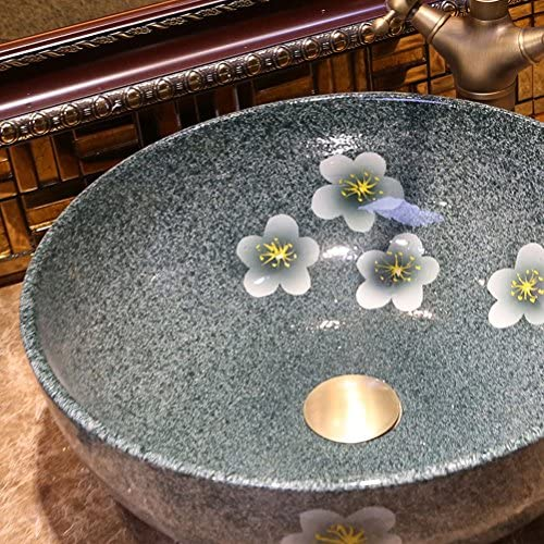 Minmin バスルームのシンクラウンドバスルームセラミック洗面器洗面器バスルームアートカウンター盆地上の蛇口セット、40×15センチ 芸術流域