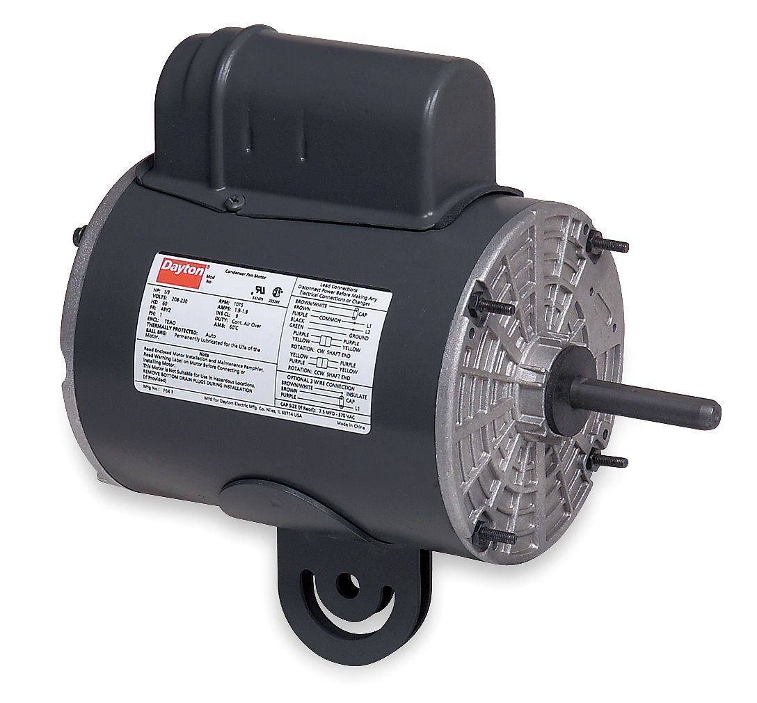 Dayton 3M469 Motor, 1/3 hp, Yoke, Degrees_Fahrenheit, to Volts, Amps, (